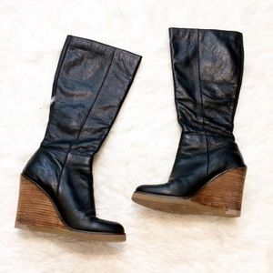 Lucky Brand wedge tall boots black Fabulous